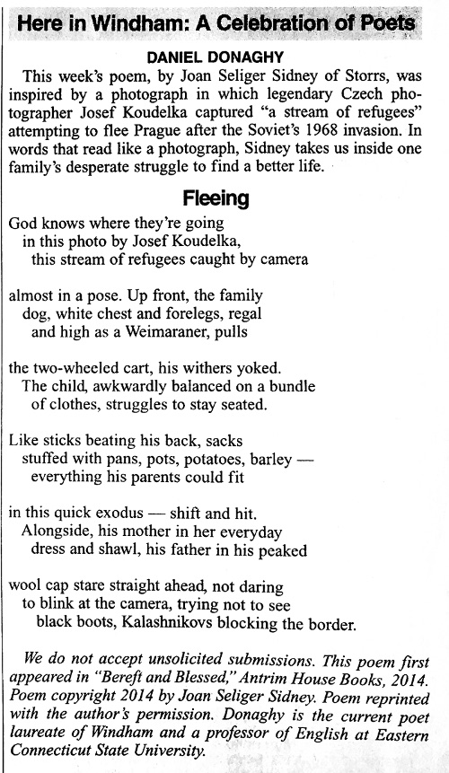 The poem 'Fleeing' as published in the Willimantic Chronicle.